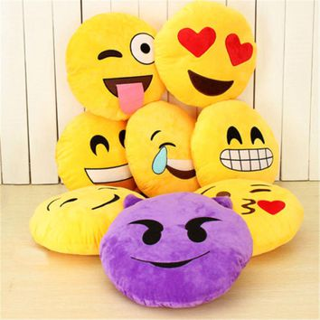 8 Styles Soft Emoji  Cute Cushions Pillows QQ Facial Emotions Pillow Yellow Round Cushion Stuffed Plush Toy Gift For Baby Kids