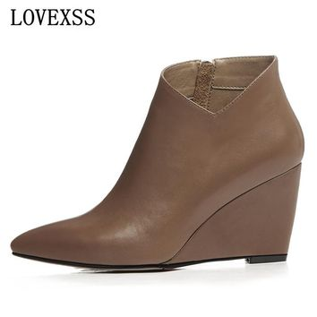 LOVEXSS Full Grain Leather Ankle Boots 2017 Spring/Autumn Fashion Sexy Wedge Boots Black Brown Genuine Leather Pointed Toe Shoes