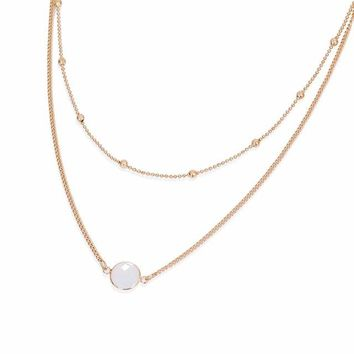 natural crystal 2 layer choker necklace gold color opal stone pendant necklace for women jewelry