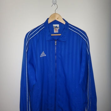 New Year Sale Vintage ADIDAS Windbreaker Sport jacket/Long Sleeves Adidas/Zip Up Jacket/Warm Up/3 stripes embroidered logo/Hip Hop Swagger/S