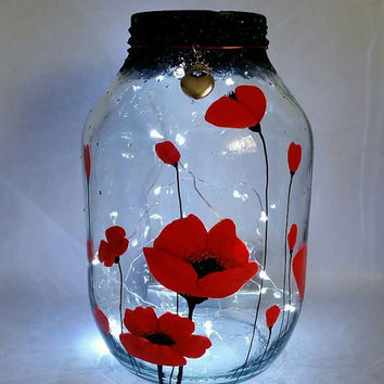 Hand painted poppies Lantern / candle holder / night light....MADE TO ORDER.