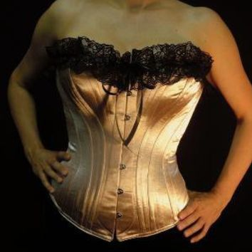 c 1880 Victorian Corset in Dusty Rose Satin by PeriodCorsets