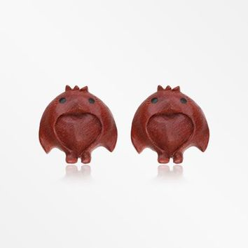 A Pair of Brown Penga the Penguin Handcarved Wood Earring Stud