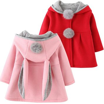 Red Pink Rabbit Hoodie Kid Child Baby Toddler New Born Infant Winter Snow Coat Sweater