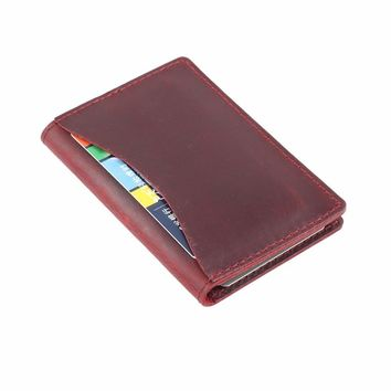 2018 New Arrivals Credit ID Card Holder Vintage Design Crazy Horse Leather Customized Business Men Women Wallet Free Shipping