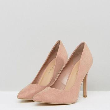 New Look Wide Fit Suedette Court Shoe at asos.com