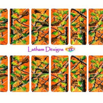 """Set of 40 Hand Painted Orange Camo Nail Wraps from the Freeda Latham """"Signature Collection."""""""