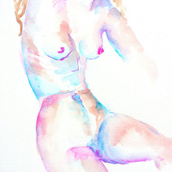 Naked Woman, Original Watercolor, 9x12, Nude abstract art, figurative, gesture sketch, Naked female figure
