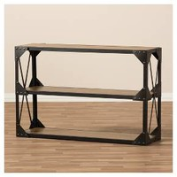 Hudson Rustic Industrial Style Antique Textured Finished Metal and Distressed Wood Occasional Console Table - Brown, Black - Baxton Studio