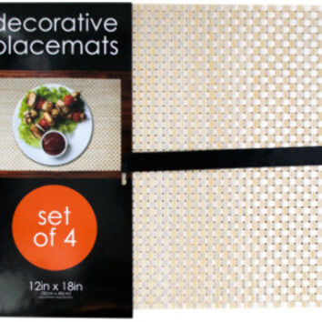 decorative bamboo look woven placemat set