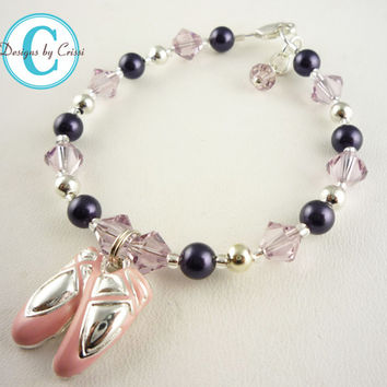 Dance Ballet Bracelet for Girls, silver and swarovski crystal, choose your colors, pink, clear, pearl, great for recitals, birthdays