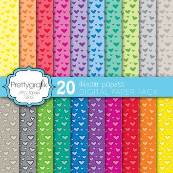 20 heart valentine digital paper pack, commercial use, scrapbook papers - PGPSPK579