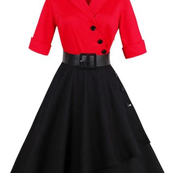 Atomic Red And Black Asymmetrical Swing Dress