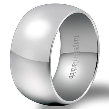 12mm Classic Silver Tungsten Carbide Ring Wedding Engagement Smooth Domed Wide Band High Polished (Platinum)