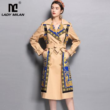 Women's Designer Print Double Breasted Trench Coat
