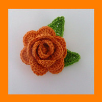 1 Crochet Rose Brooch