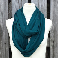 Teal Infinity Scarf - Viscose Jersey Knit Loop Scarf - Teal Green Sea Green - Vibrant Eternity Scarf