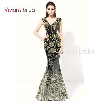 Sequin Mermaid Evening Dress Long V Neck Cap Sleeve Prom Dress Evening Gown For Party