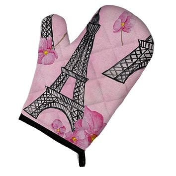 Watercolor Pink Flowers and Eiffel Tower Oven Mitt BB7511OVMT