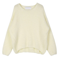 White Cable Knit Dip Back Loose Sweater