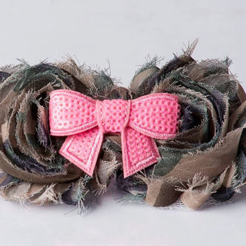 Baby Headband of Green Brown Pink Military Camo Shabby Chic Flower Headband- Baby Girl, Infant, Toddler Girl Photo Prop and Hair Accessory