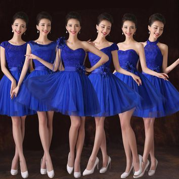 Royal Blue Bridesmaid Dress For Country Wedding Short Tulle Lace Halter Prom Party Dresses 2016 Plus Size Bridesmaid Dresses