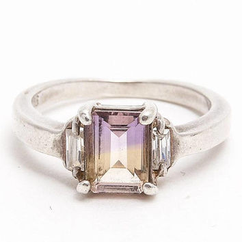 Ametrine Ring Sterling Silver with Cubic Zirconia Size 7 Emerald Cut Ametrine, Vintage Estate Jewelry, Cocktail Ring, Silver Gemstone Ring