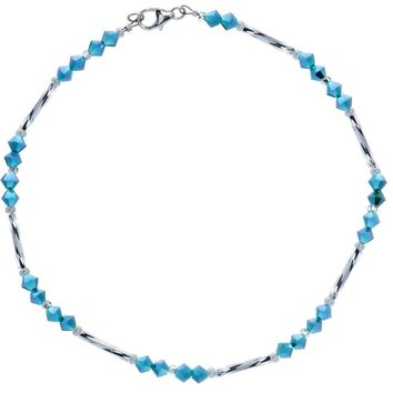 Blue Glass Bugle Ankle Bracelet Created with Swarovski Crystals