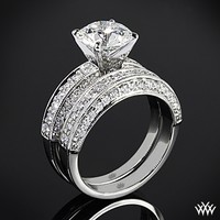 "18k White Gold with Platinum Head ""Three-Side Pave"" Diamond Engagement Ring & Wedding Ring"