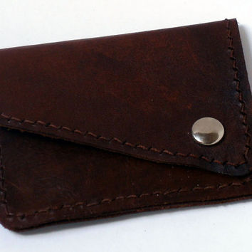 Leather coin purse with 2 pockets, hand dyed brown