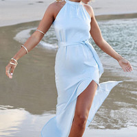 Light Blue Slit Beach Dress  11539