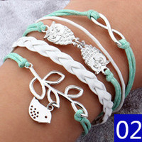 Vintage Bird Tree Owls Anchors Rudder Rope Braided Bracelet Wrap Leather Bracelet Multilayer bracelets bangles