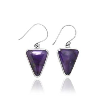 Sugilite Cabochon Drop Earrings in Sterling Silver Setting
