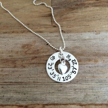 Custom GPS Coordinates Engraved Sterling Silver Charm Necklace, Latitude Longitude, Location, Personalized Washer Pendant with Heart