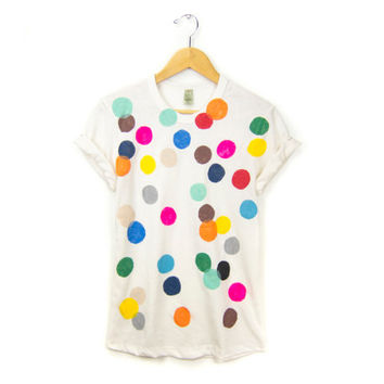 Colorful Confetti - Women's Hand Stenciled Crew Neck Pinned Rolled Cuffs Boyfriend Fit Tee in Cream Multi Rainbow - S M L XL 2XL 3XL