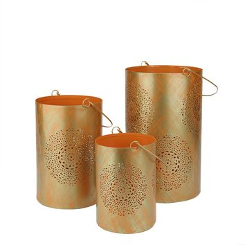 """Set of 3 Orange and Gold Decorative Floral Cut-Out Pillar Candle Lanterns 10"""""""