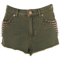 MOTO Khaki Studded Hotpants - Style Steals  - New In