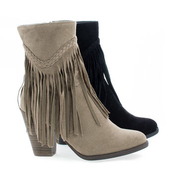 Heather38 Western Round Toe Stacked Heel Fringe Ankle Boots
