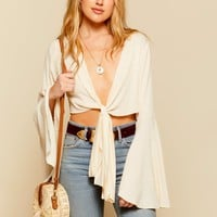 Desert Blooms Ivory Wrap Top