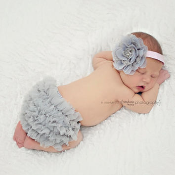 Baby Girl Set- Inspired Lace Vintage Ruffle Bum Baby Bloomer and Inspired Vintage Lace Frayed Flower Pearl Center on Stretch Headband-