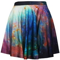Women's Girls Purple Galaxy Digital Print High Waist Casual Skirt