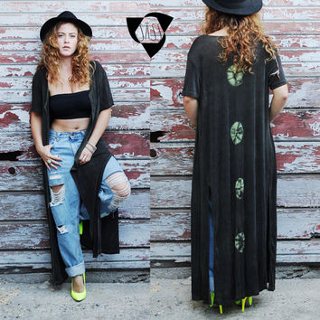 Black Long Kimono Cardigan, Unique Tie-Dye Design on the Back