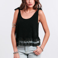 End Of The Night Lace Accent Tank