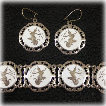 Vintage Siam Sterling White Enamel Bracelet and Earrings Set