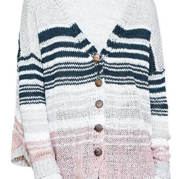 En Creme Striped Cardigan