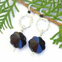Black Onyx Flower Faceted Earrings Handmade Sterling Gemstone Jewelry