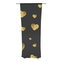 "Robin Dickinson ""Floating Hearts"" Gold Black Decorative Sheer Curtain"