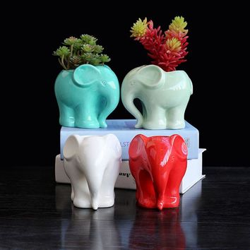 1pc Minimalist Elephant White Ceramic Planter for Succulents Decorative Succulents Pot Mini Flower Pot Home Garden Decoration