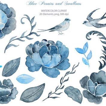 Wedding clipart - Hand painted watercolor blue peonies, buds and 2 swallows printable instant download  for  wedding invitations