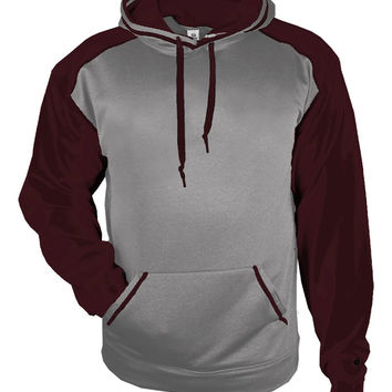 Badger 1468 Sport Heather Hood - Steel Heather Maroon